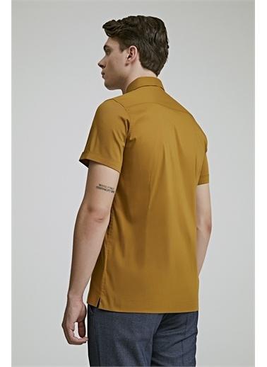 TWN Twn Slim Fit Beyaz Düz Stretch Gömlek Hardal